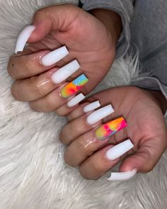 To book this service select: Colored Acrylic Medium or Long (Color blast Upcharge must be added) White Acrylic Nails, Summer Acrylic Nails, Best Acrylic Nails, Acrylic Nail Designs, Coffin Acrylic Nails Long, Long Gel Nails, Summer Nails, Dope Nail Designs, Long Stiletto Nails