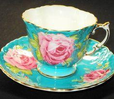 Aynsley England Aqua Opulent Epic Rose Tea Cup and Saucer Teacup