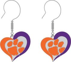 Sport: NCAA Swirl Heart Dangle Earring Product: Swirl Heart Earring. Size: 3/4 inch Brand: Officially Licensed Products