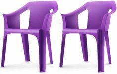 """Resol """"Cool"""" Garden Outdoor / Indoor Designer Plastic Chairs - Purple - Garden Furniture (Pack of 2 chairs): Amazon.co.uk: Garden & Outdoors..."""