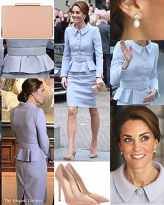 For HRH's first official solo oversea visit to carry out a number of engagements, the Duchess debuted an elegant pale blue skirt suit by Catherine Walker. The belted jacket features large buttons and peplum detail, whilst the skirt falls to just above the knee- this is quite rare as royal ladies would normally wear something below the knee, but in my opinion, this suit is a great exception . The Duchess carried her 'Nina' clutch by @lkbennettlondon and wore her Praline @gianvitorossi…