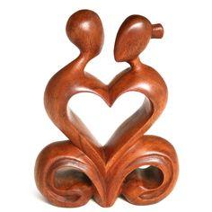 Nyoman Karsa Handcrafted Romantic Wood Sculpture