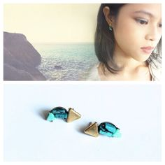 Raw Turquoise and Brass Half Moon Earrings