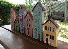 Wooden Painted House Miniature House Decoration Christmas gift Backyard decor Home accent item Shabby chic style Small Wooden House, Decoration Christmas, Christmas Mantles, Pink Christmas, Christmas Christmas, Christmas Ornaments, Backyard House, Selling Handmade Items, Miniature Houses