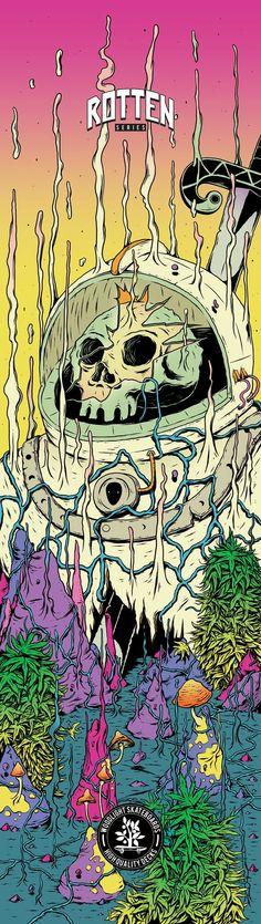 Rotten Series for Woodlight Skateboards - Illustration Print Design Graffiti Art, Graffiti Wallpaper, Trippy Drawings, Art Drawings, Pop Art, Foto Fantasy, Psychadelic Art, Arte Horror, Art Et Illustration