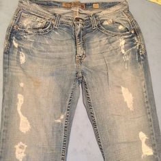 BKE Derek cut extremely distressed jeans They were bought in the extremely distressed way.. Only been worn a few times still have plenty life in them just needs a new home and some fun times :) 32 1/2 in the length any questions just ask BKE Jeans Straight Leg