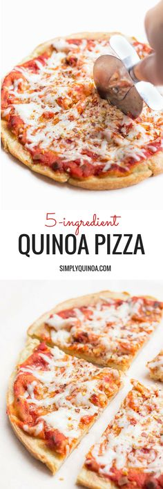 5-Ingredient Quinoa Pizza Crust -- the only gluten-free pizza you will ever need! The pizza crust is dairy-free - use your favorite dairy-free toppings (skip the goat cheese!)