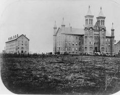 Antioch College campus soon after its construction. Antioch Hall, completed in 1853, served as the main building for the college and included a chapel, lecture hall, recitation rooms, laboratory, and library. Two dormitories were also constructed, one for men and one for women.
