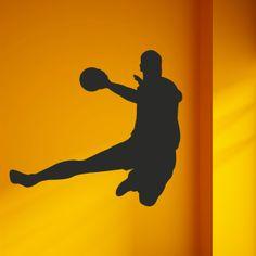 Vinilo decorativo deportivo con la silueta de un jugador de balonmano. Masquevinilo.com