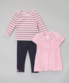 Another great find on #zulily! Pink Ruffle Cardigan Set - Infant #zulilyfinds