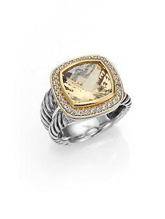 David Yurman - Champagne Citrine, Diamond, 18K Gold & Sterling Silver Ring - Saks.com