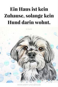 Zitat Hund, Zeichnung Aquarell Continental Bulldog, Aram und Abra