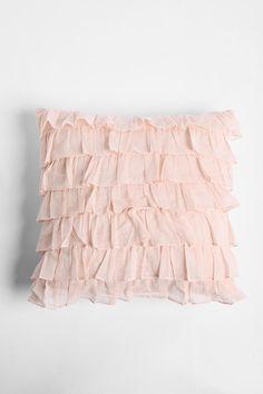 "Waterfall Ruffle Pillow 18""sq Pink $39"