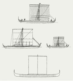 Viking longships. Top Skuldelev 2, which could be staffed by 7,080 warriors. In the middle TV .: Hedeby 1, th .: Skuldelev 5. At the bottom are shown Roskilde 6, which with its 36 m length is the absolute longest of the previously found longships.