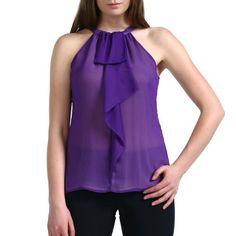 Jessie G. Women's 'Cynthia' Cascade Ruffle Chiffon Halter Blouse in Black, Purple or Teal Jessie G.. $9.99
