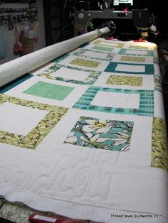 modern quilt with nice fabric selection