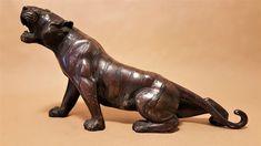 Japanese Bronze Tiger Lion Sculpture, Bronze, Japanese, Statue, Antiques, Art, Trout, Antiquities, Craft Art