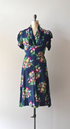 Victory Garden dress silk 1940s dress vintage 40s by DearGolden