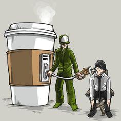 Kraftstoff-T-Shirt - Kaffee - Kaffeekunst Coffee Cup Art, Coffee Poster, Coffee Is Life, I Love Coffee, Coffee Cafe, My Coffee, Coffee Shop, Coffee Artwork, Coffee Break