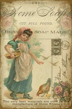 Soap ad with vintage girl, chicken, roses, postmarks and stamps.