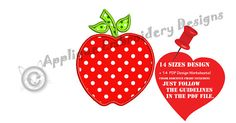 Apple Applique Embroidery Design Machine Embroidery