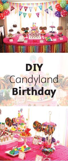 Create an entire party theme with everyone's favorite board game (and sweet treat) with a Candyland-Themed Birthday Party. Your toddler will love this colorful and fun party idea, complete with a candy-covered cake and DIY birthday banners!