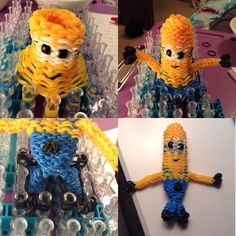3D Despicable Me Minion - Rainbow Loom - 5 1/2 inches tall. I noticed that there were a lot of flat minion bracelets or figurines out there but I really wanted one that could truly be held. So I started making him and this is what the result was!
