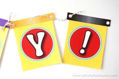 Free Printable Play-Doh Birthday Banner at artsyfartsymama.com #WorldPlayDohDay