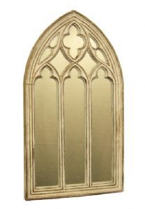 Stone gothic arched mirror church window wall outdoor for Gold window mirror