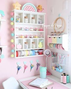 All the happy feels for this sweet craft room by That pom pom garland tho. Study Room Decor, Craft Room Decor, Cute Room Decor, Home Decor, Girl Bedroom Designs, Room Ideas Bedroom, Bedroom Decor, Craft Room Organisation, Craft Room Design