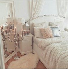 Girly bedroom ideas for small rooms small room design ideas for Glam Bedroom, Home Bedroom, Girls Bedroom, Master Bedroom, Feminine Bedroom, Bedroom Vintage, Mirror Bedroom, Pretty Bedroom, Stylish Bedroom