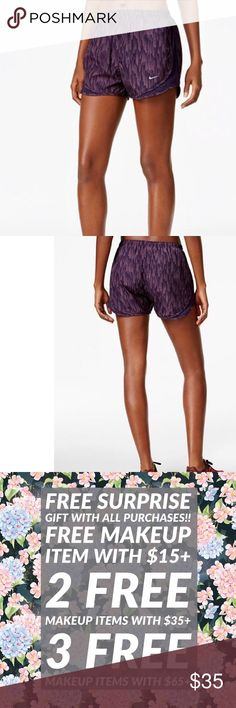 """NWT Nike Dry Printed Tempo Running Shorts purple Nike Dry Printed Tempo Running Shorts Purple Dynasty A sleek sublimated print is only part of the performance package of these Tempo running shorts. Nike Dry fabric and a movement-friendly inseam that lets you run without restriction. * Mid rise; slim fit through hips and thighs * Approx. inseam: 3-1/2"""" * elastic waistband, drawstring waist * Internal pocket  * Built-in briefs * Nike Dry wicking fabric helps evaporate moisture * Allover…"""