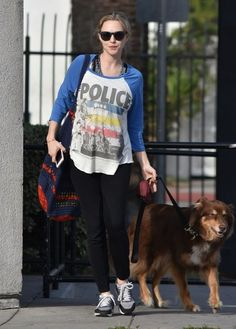 Pregnant Amanda Seyfried is spotted walking her dog in West Hollywood, California on December 14, 2016. The actress, who is expecting her first child with boyfriend Thomas Sadoski, showed off a growing baby bump underneath a long-sleeved Police t-shirt.
