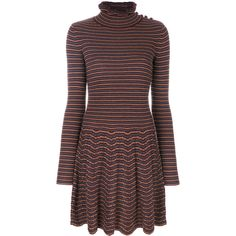 See By Chloé turtleneck long sleeved dress ($495) ❤ liked on Polyvore featuring dresses, boho dresses, long sleeve turtleneck dress, striped dresses, stripe dresses and flared dresses