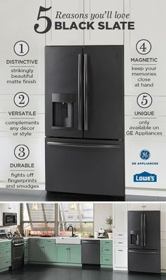 With Black Slate, GE Appliances gives you another premium finish choice. See it up close at Lowe's. And don't worry, it's ok if you fall in Slate Kitchen, Kitchen Redo, New Kitchen, Kitchen Remodel, Kitchen Ideas, Kitchen Appliance Storage, Kitchen Appliance Packages, Slate Appliances, Kitchen Appliances