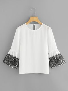 Stagioni Fashion for Women, Blouses for Women. Item: Lace Trim Trumpet Sleeve Top for Women Blouse Styles, Blouse Designs, Lace Tops, Chiffon Tops, Stylish Dress Designs, Kurti Designs Party Wear, Mode Hijab, Mode Inspiration, Pretty Outfits