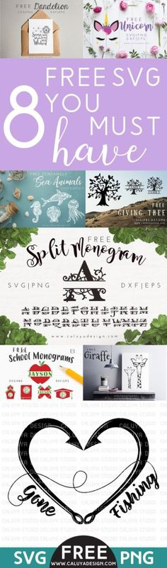 8 free SVG you must have! free SVG, PNG, EPS, DXF cut files that are compatible with Cricut, Cameo Silhouette and other major cut machines. free cut files bundle download! free SVG file