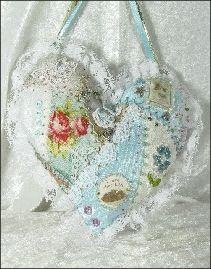 Aqua Lace Heart Pillow