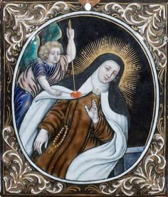 """Polychrome painted enamel with heightened gold representing the Ecstasy of St. Teresa of Avila. Black enamel with the inscription: """"Laudin emaillieur near the iesuistes in Limoges"""". Religious Pictures, Religious Art, St Theresa Of Avila, Stella Maris, Lady Of Mount Carmel, D Avila, Limoges, Blessed Virgin Mary, Objet D'art"""