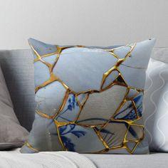 'Kintsugi' Throw Pillow by delfmeunier Kintsugi, Japanese Pottery, Japanese Art, Diy Pillows, Decorative Throw Pillows, Ceramic Pottery, Ceramic Art, Carillons Diy, Wabi Sabi