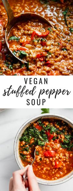 This vegan stuffed pepper soup is a healthy recipe that is so easy to make! It's filling and loaded with lentils, rice and of course peppers! #healthyrecipes #veganrecipes #souprecipes #choosingchia