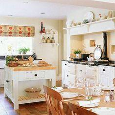 Country Kitchen ~ A neutral colour scheme in this open-plan kitchen/diner opens… Aga Kitchen, Open Plan Kitchen Diner, Kitchen Dinning, Kitchen Ideas, Cozy Kitchen, Open Kitchen, Kitchen Reno, Kitchen Designs, Kitchen Storage