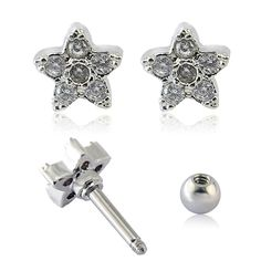 New Fashion  Womens Earrings Studs  Cubic Zirconia Flower Shape Ear Piercing Stud Earring Fashion Stud Earrings Piercing Jewelry