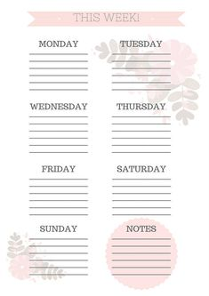 planning your day Printable Weekly Planner