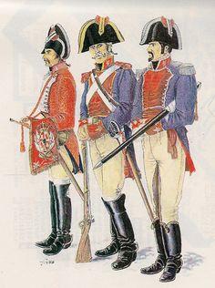 Trompeta del Regimiento de Caballería Montesa, Sargento del Regimiento de Caballería Farnesio y Capitán del Regimiento de Caballería Borbón