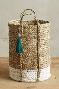 Slide View: 1: Balinese Tassel Basket