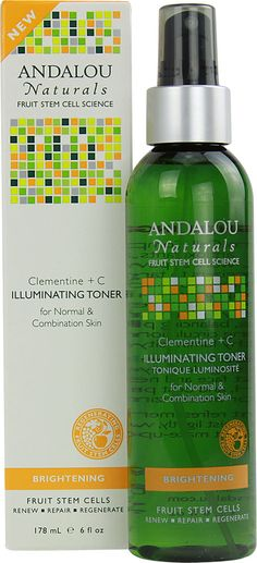 Andalou Naturals Brightening Clementine plus C Illuminating Toner. I keep it in the fridge. What a great pick me up to spray this when its 100* out.