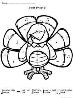Galerry music turkey coloring page