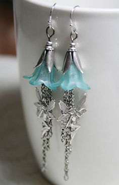 RAINDANCE romantic teal lucite flower and by TheVictorianGarden