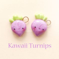 Hey guys!  I made some cute little turnip charms inspired by the amazing @polymomotea!  They're so shiny ✨ and pearly ⚪ and pretty  and I love that purple and lime green combo way too much!  Hope you like them! ✌ #polymerclay